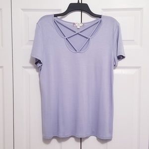 Pretty Baby Blue Short Sleeve Strappy Top NWOT